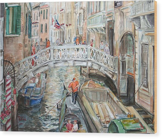 People In Venice Wood Print by Becky Kim