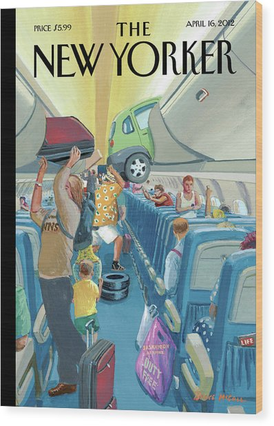 People On An Airplane Putting Various Items Wood Print