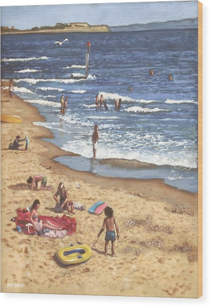 people on Bournemouth beach Blue Sea Wood Print