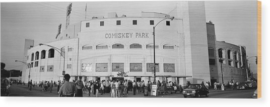 People Outside A Baseball Park, Old Wood Print