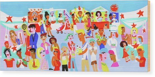 People Shopping And Eating In Vibrant Wood Print by Christopher Corr
