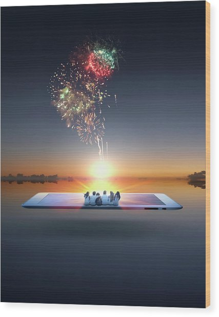 People Watching Fireworks Erupt From Wood Print by Colin Anderson Productions Pty Ltd