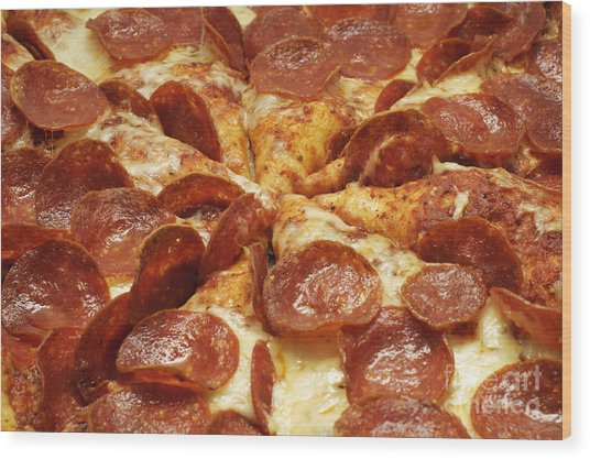 Pepperoni Pizza 1 Wood Print