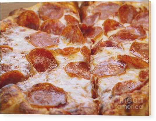 Pepperoni Pizza 1 - Pizzeria - Pizza Shoppe Wood Print