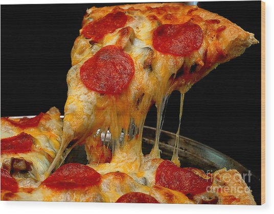 Pepperoni Pizza Slice Wood Print