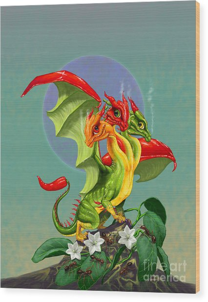 Peppers Dragon Wood Print