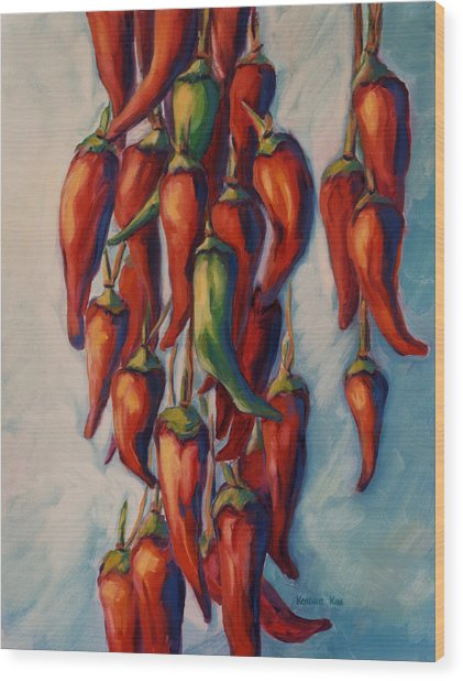Wood Print featuring the painting Peppers by Konnie Kim