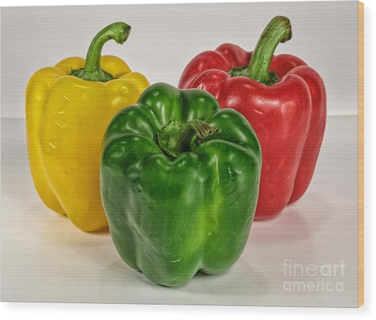 Peppers Together Wood Print by Mitch Johanson