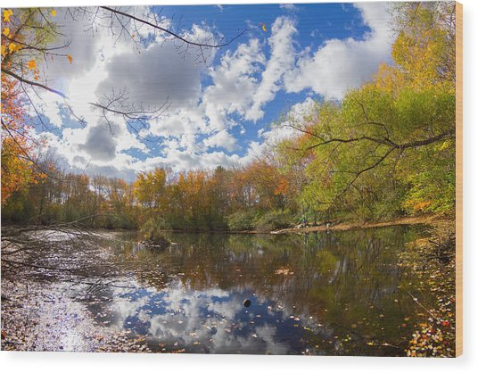 Pequotsepos Duck Pond Reflection   Wood Print