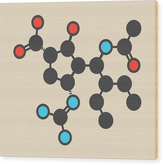 Peramivir Influenza Drug Molecule Wood Print