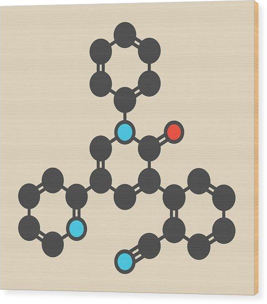 Perampanel Epilepsy Drug Molecule Wood Print by Molekuul