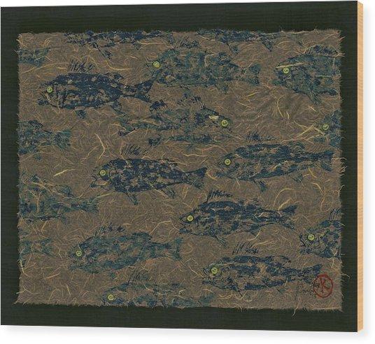 Perch School On Mocha Unryu Paper Wood Print