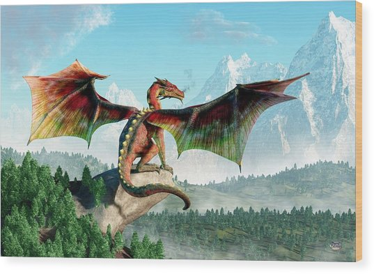 Perched Dragon Wood Print