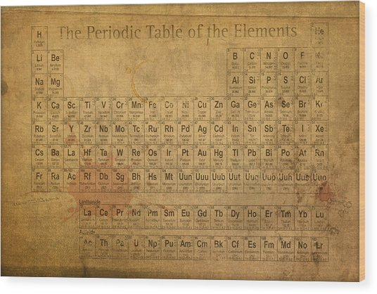 Periodic Table Of The Elements Wood Print