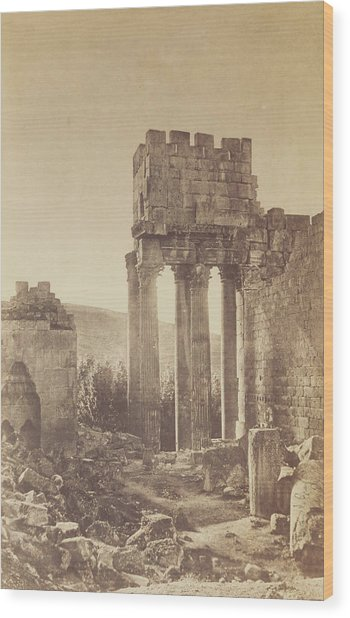 Peristyle, Temple Of  Bacchus, Baalbek Gustave Le Gray Wood Print