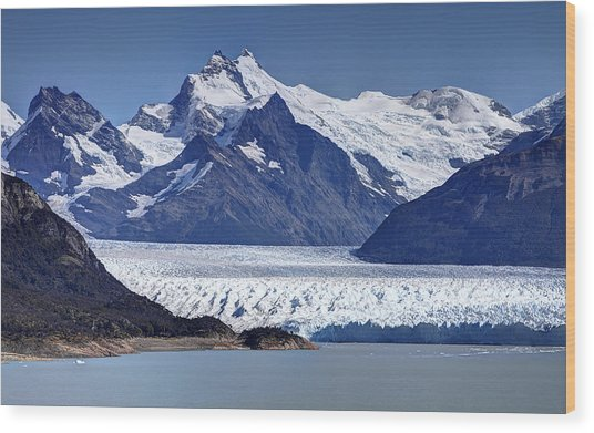 Perito Moreno Glacier - Snow Top Mountains Wood Print