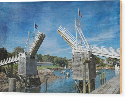 Perkins Cove Drawbridge Textured Wood Print