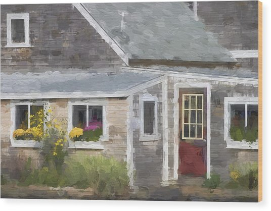 Perkins Cove Maine Painterly Effect Wood Print