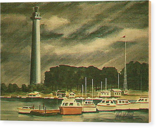 Perrys Monument On Put In Bay Wood Print