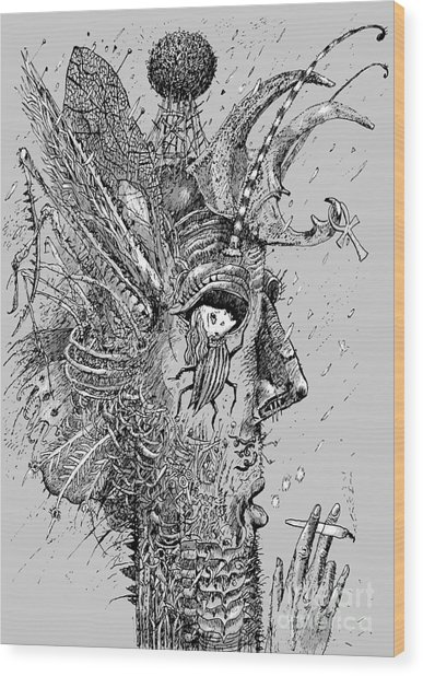 Person Insect. Smoker. Surrealistic Wood Print by Alex74