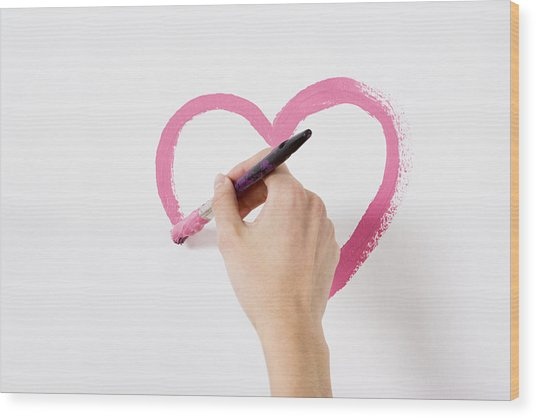 Person Painting A Heart Wood Print by Image Source