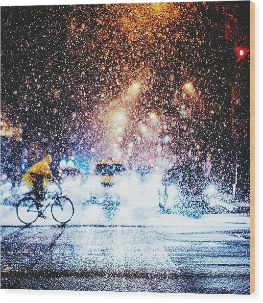 Person Riding Bicycle In Snowfall Wood Print by Maclerin Mines / Eyeem