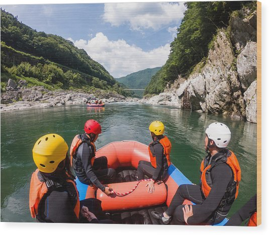 Personal Point Of View Of A White Water River Rafting Excursion Wood Print by Tdub303