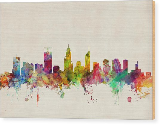 Perth Australia Skyline Wood Print