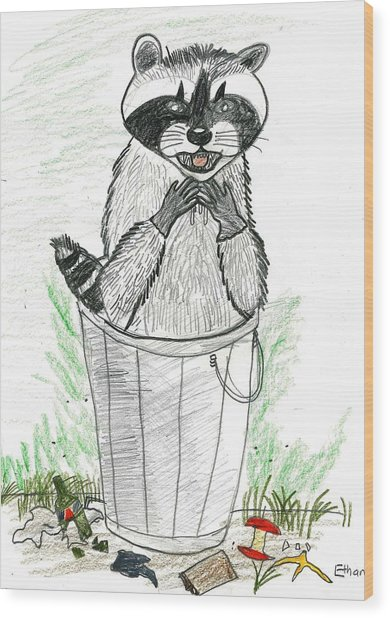 Pesky Raccoon Wood Print by Ethan Chaupiz