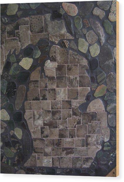 Pestoskey Stone Michigan Map Wood Print