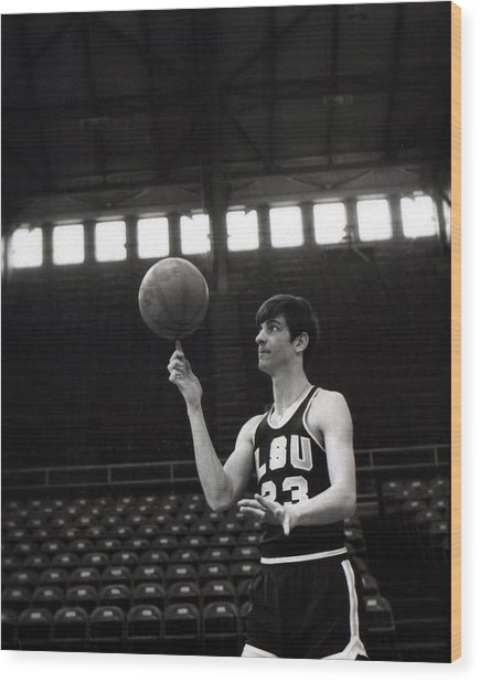 Pete Maravich Spinning Ball On Finger Wood Print