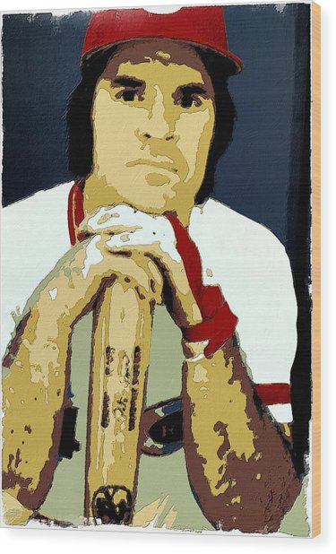 Pete Rose Poster Art Wood Print