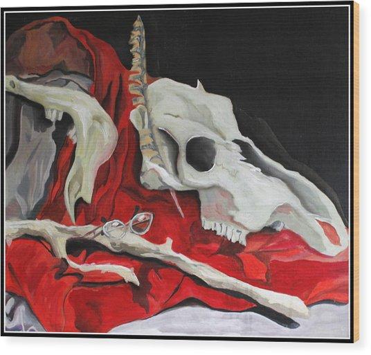 Pete The Skull Wood Print by Kip Krause