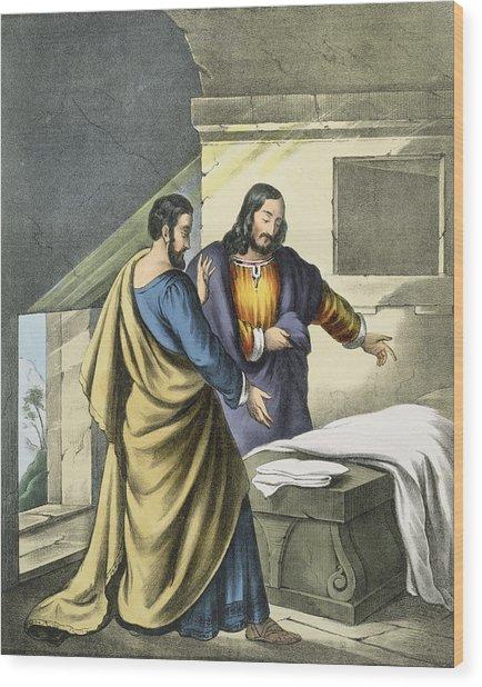 Peter And John At The Sepulchre Wood Print