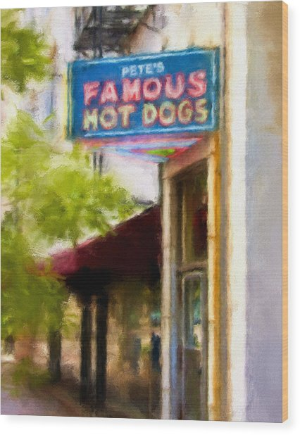 Pete's Famous Hot Dogs Wood Print