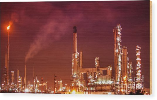 Petrochemical Oil Refinery Plant  Wood Print