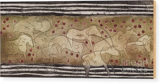 Petroglyph - Ensemble Of Red Dots And Short Strokes - Prehistoric Art - The Plains - Prarie Country Wood Print