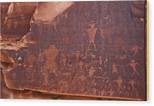 Petroglyph In Utah Wood Print