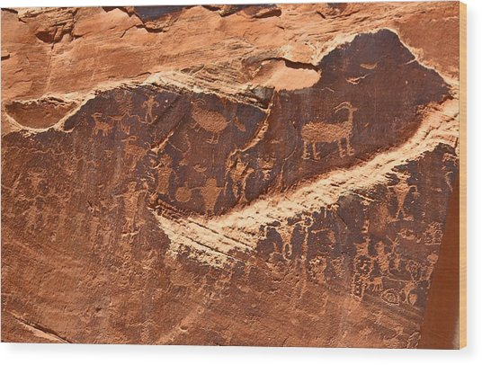 Petroglyphs Or Rock Art In Utah Wood Print