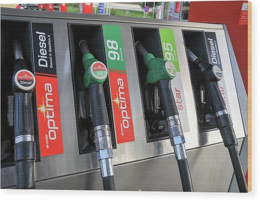 Petrol Station Pumps. Wood Print