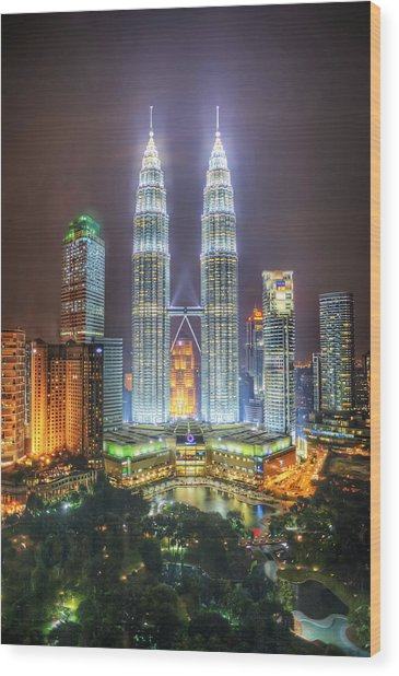 Petronas Twin Towers And Klcc Park At Night Wood Print by Daniel Chui