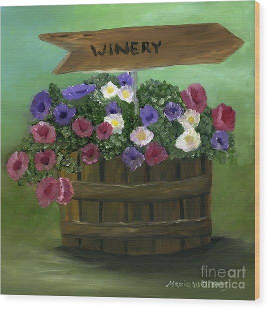 Petunias In A Barrel Wood Print by Maria Williams