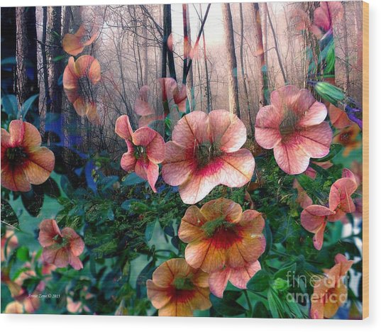 Petunias In The Forest Wood Print