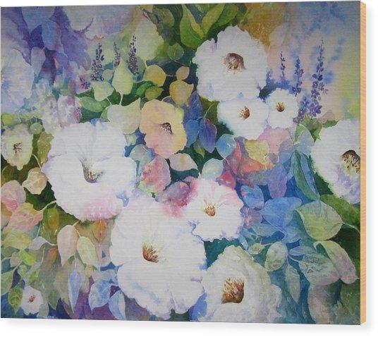 Petunias In White Wood Print
