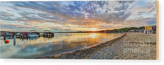 Pewaukee Vibrant Evening  Wood Print