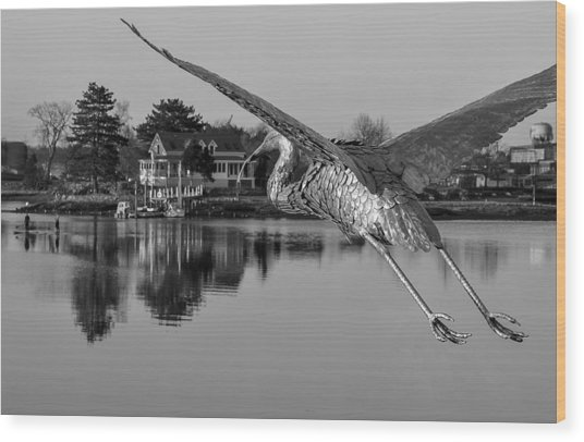 Pewter Great Blue Heron Wood Print
