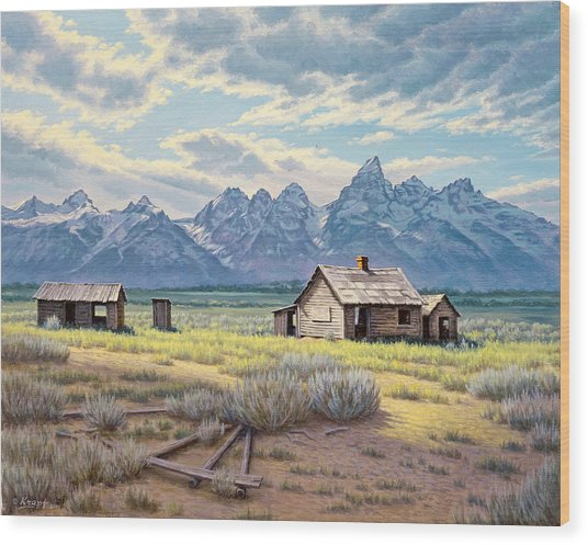 Pfeiffer Homestead-tetons Wood Print