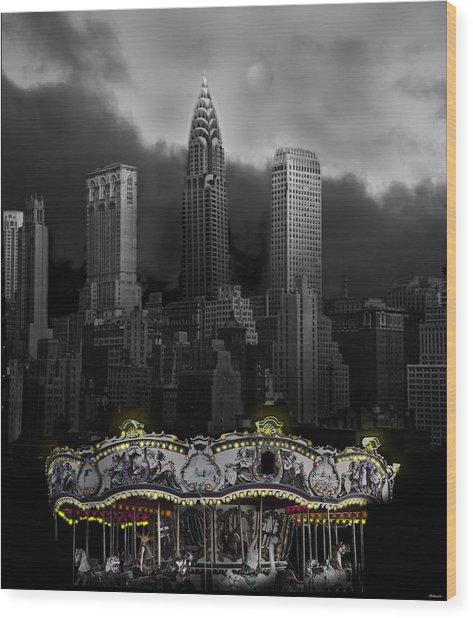 Phantom Carousel Wood Print by Larry Butterworth