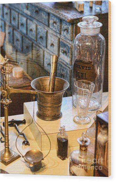 Pharmacist - Brass Mortar And Pestle Wood Print