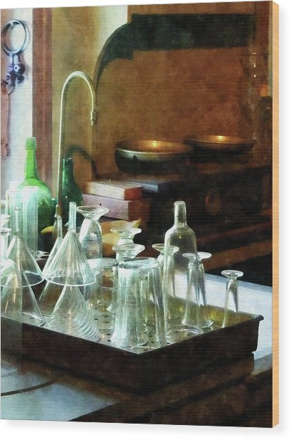 Pharmacy - Glass Funnels And Bottles Wood Print